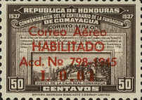 """[Airmail - Earlier Stamps Overprinted """"Correo Aereo HABILITADO Acd No 798-1945 L 0.01"""" and Surcharged, type BP1]"""