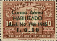 """[Airmail - Earlier Stamps Overprinted """"Correo Aereo HABILITADO Acd No 798-1945 L 0.01"""" and Surcharged, type BV1]"""