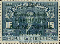 """[Airmail - Earlier Stamps Overprinted """"Correo Aereo HABILITADO Acd No 798-1945 L 0.01"""" and Surcharged, type BW2]"""