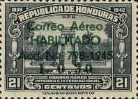 """[Airmail - Earlier Stamps Overprinted """"Correo Aereo HABILITADO Acd No 798-1945 L 0.01"""" and Surcharged, type BX1]"""