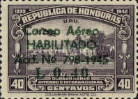 """[Airmail - Earlier Stamps Overprinted """"Correo Aereo HABILITADO Acd No 798-1945 L 0.01"""" and Surcharged, type BZ1]"""
