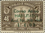 """[Airmail - Earlier Stamps Overprinted """"Correo Aereo HABILITADO Acd No 798-1945 L 0.01"""" and Surcharged, type CA2]"""
