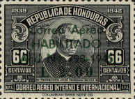 """[Airmail - Earlier Stamps Overprinted """"Correo Aereo HABILITADO Acd No 798-1945 L 0.01"""" and Surcharged, type CC1]"""
