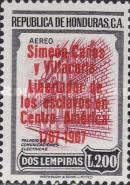 """[Airmail - The 200th Anniversary of the Birth of Simeon Canas y Villacorta - Previous Issues Overprinted """"Simeon Canas y Villacorta Libertador de los esclavos en Centro America 1767-1967"""", type FH1]"""