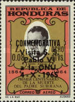 """[Airmail - Pope Paul's Visit to U.N. Organisation - Previous Issues Overprinted """"CONMEMORATIVA Visita S. S. Pablo VI a la ONU. 4-X-1965"""", Typ GQ1]"""