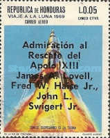 "[Airmail - Safe Return of ""Apollo 13"" - Overprinted ""Admiracion al Rescate del Apolo XIII, James A. Lovell, Fred W. Haise Jr., John L. Swigert Jr."", Typ IG1]"
