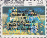 "[Airmail - Safe Return of ""Apollo 13"" - Overprinted ""Admiracion al Rescate del Apolo XIII, James A. Lovell, Fred W. Haise Jr., John L. Swigert Jr."", Typ IJ2]"