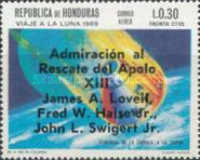 "[Airmail - Safe Return of ""Apollo 13"" - Overprinted ""Admiracion al Rescate del Apolo XIII, James A. Lovell, Fred W. Haise Jr., John L. Swigert Jr."", Typ IL1]"