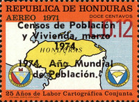 "[Airmail - Census and World Population Year - Various Stamps Overprinted ""Censos de Poblacion y Vivienda, marzo 1974. 1974 Ano Mundial de Poblacion"", Typ JM1]"