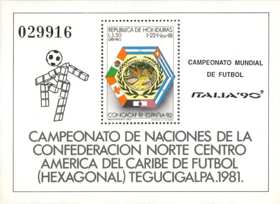 [Airmail - Football World Cup - Italy - Minisheet of 1981 Overprinted