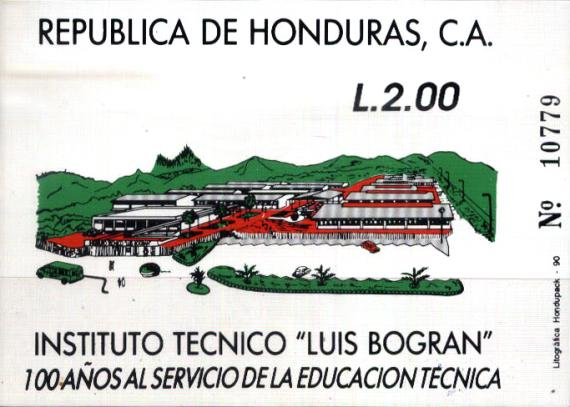 [Airmail - The 100th Anniversary of Luis Bogran Technical Institute, Tegucigalpa, type QV1]