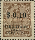 "[Francisco Morazan Monument - Stamps of 1919 Overprinted ""HABILITADO VALE DIEZ CTS"" & Surcharged Value, type U11]"