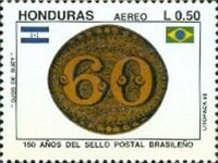 [Airmail - The 150th Anniversary of 1st Brazilian Stamps, Typ UP]