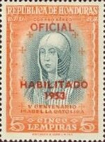 "[Airmail - The 500th Anniversary of the Birth of Queen Isabella I of Spain - Official Stamps of 1952 Overprinted ""HABILITADO 1953"" and Surcharged Value, type XCA12]"