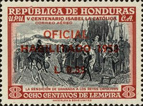 "[Airmail - The 500th Anniversary of the Birth of Queen Isabella I of Spain - Official Stamps of 1952 Overprinted ""HABILITADO 1953"" and Surcharged Value, type XCA7]"