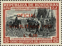 "[Airmail - The 500th Anniversary of the Birth of Queen Isabella I of Spain - Official Stamps of 1952 Overprinted ""HABILITADO 1953"" and Surcharged Value, type XCA8]"