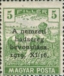 [Horthy-Army in Budapest - Reaper Stamps of 1919 Overprinted, type ED]
