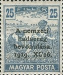 [Horthy-Army in Budapest - Reaper Stamps of 1919 Overprinted, type ED4]