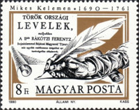 [The 300th Anniversary of the Birth of Kelemen Mikes, 1690-1761, type EUP]