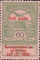 """[Aid to Flood Victims Stamps of 1913 Overprinted """"Hadi segély"""" and Surcharged - Military Aid for Widows and Orphans, type K13]"""