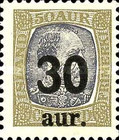 "[Surcharged ""30 aur"" and ""50 aur"", type Q]"