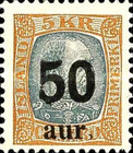 "[Surcharged ""30 aur"" and ""50 aur"", type Q1]"