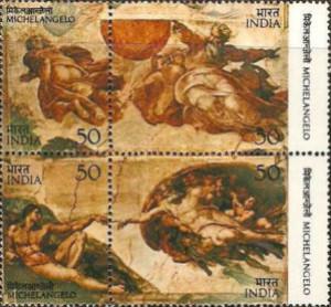 [The 500th Anniversary of the Birth of Michelangelo. Creation Frescoes from Sistine Chapel, Typ ]