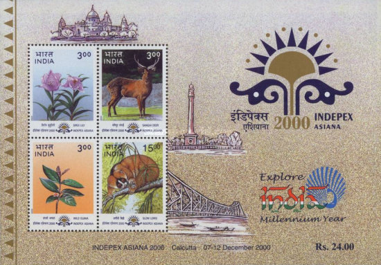 [Indepex Asiana 2000 International Stamp Exhibition, Calcutta - Flora and Fauna of Manipur and Tripura, type ]