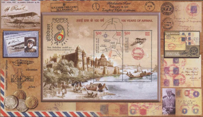 [The 100th Anniversary of Airmail - International Stamp Exhibition INDIPEX 2011, New Delhi, Typ ]