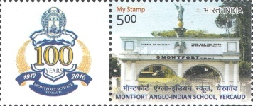 [The 100th Anniversary of the Montfort Anglo-Indian School, Yercaud - Personalized Vignette, Typ DPT]