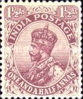 """[King George V, 1865-1936 - Inscription: """"ONE AND A HALF ANNA"""", type XAY1]"""