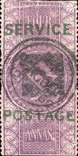 """[Postage Stamps Overprinted """"SERVICE POSTAGE"""" & Surcharged, Typ D1]"""