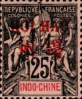 """[Indochina Postage Stamps Overprinted """"HOI HAO"""" in Red, type A8]"""