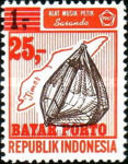 [Indonesia Postage Stamps Overprinted in Red, Typ N]