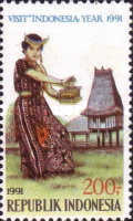 [Visit Indonesia Year - Dancers and Traditional Houses, Typ BAE]
