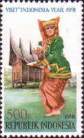 [Visit Indonesia Year - Dancers and Traditional Houses, Typ BAF]
