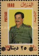 [President Saddam Hussein Stamps of 1986 Surcharged, type VV12]