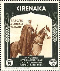 [The 2nd International Colonial Exhibition - Cirenaica Warrior on Horse, type AD]