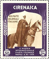 [The 2nd International Colonial Exhibition - Cirenaica Warrior on Horse, type AD3]