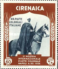 [The 2nd International Colonial Exhibition - Cirenaica Warrior on Horse, type AD4]