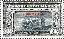 [The 50th Anniversary of the Death of Alessandro Manzioni - Italian Postage Stamps Overprinted