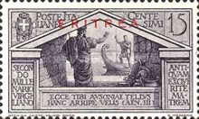 """[The 2000th Anniversary of the Birth of Roman Poet Vergil - Not Issued Italian Stamps Overprinted """"ERITREA"""" in Blue or Red, type BC]"""