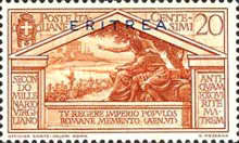 """[The 2000th Anniversary of the Birth of Roman Poet Vergil - Not Issued Italian Stamps Overprinted """"ERITREA"""" in Blue or Red, type BC1]"""
