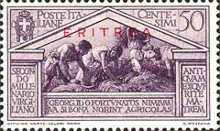 """[The 2000th Anniversary of the Birth of Roman Poet Vergil - Not Issued Italian Stamps Overprinted """"ERITREA"""" in Blue or Red, type BC4]"""
