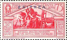 """[The 2000th Anniversary of the Birth of Roman Poet Vergil - Not Issued Italian Stamps Overprinted """"ERITREA"""" in Blue or Red, type BC5]"""
