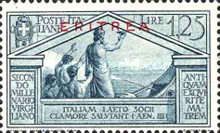 """[The 2000th Anniversary of the Birth of Roman Poet Vergil - Not Issued Italian Stamps Overprinted """"ERITREA"""" in Blue or Red, type BC6]"""