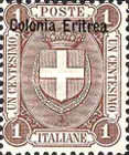 """[Coat of Arms - Italian Postage Stamps Overprinted """"Colonia Eritrea"""", Typ C]"""