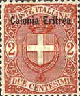 """[Coat of Arms - Italian Postage Stamps Overprinted """"Colonia Eritrea"""", type C1]"""