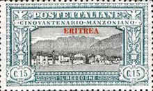 """[The 50th Anniversary of the Death of Alessandro Manzoni - Italian Postage Stamps Overprinted """"ERITREA"""", type U1]"""