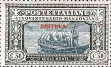 """[The 50th Anniversary of the Death of Alessandro Manzoni - Italian Postage Stamps Overprinted """"ERITREA"""", type U2]"""